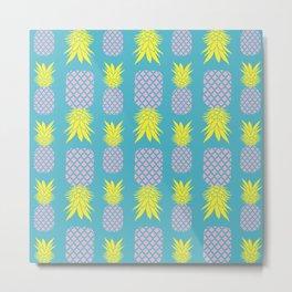 Summer Pineapple Pattern Metal Print