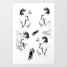 monkey, butterflyes and ... Art Print