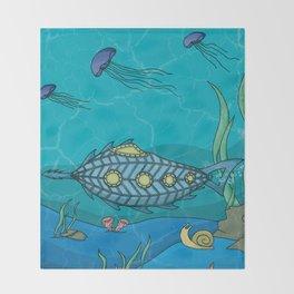 Nautilus under the sea Throw Blanket