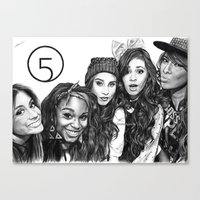 fifth harmony Canvas Prints featuring Fifth Harmony Group Drawing by Emilia Apreda