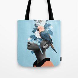 Girl with parrot Tote Bag