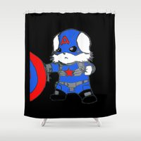 avenger Shower Curtains featuring Avenger Dog by Rocky Moose