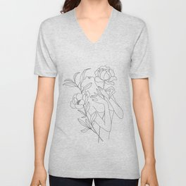 Minimal Line Art Woman with Peonies Unisex V-Neck