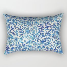 Floating Garden - a watercolor pattern in blue Rectangular Pillow