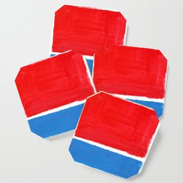 Colorful Minimalist Mid Century Modern Shapes Minimalist Rothko Color Field Red Blue Squares Coaster