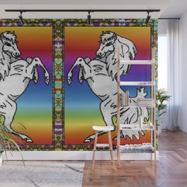 Rearing Filly with Rainbow Background Wall Mural