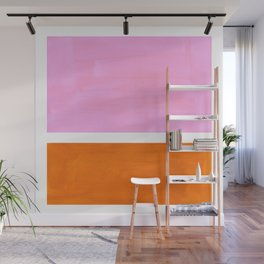 Pastel Neon Pink Yellow Ochre Mid Century Modern Abstract Minimalist Rothko Color Field Squares Wall Mural