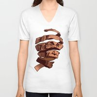 escher V-neck T-shirts featuring E=M.C. Escher by Tom Burns