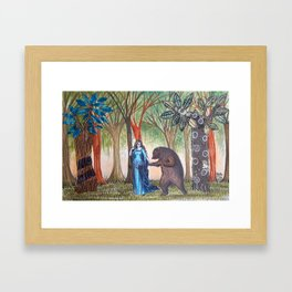The lady and the bear Framed Art Print