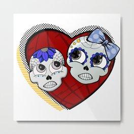 Calavera Enamorados Metal Print