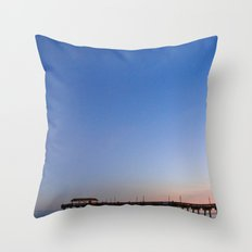 Moon over Tybee Island Pier Throw Pillow