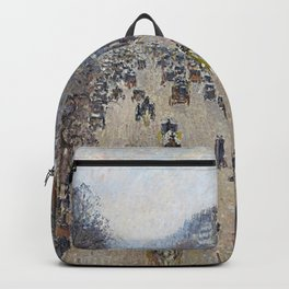 Camille Pissarro  -  Boulevard Montmartre  Morning  Cloudy Weather Backpack