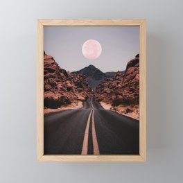 Road Red Moon Framed Mini Art Print