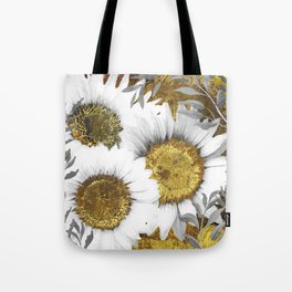 Gray Day White Sunflowers Tote Bag