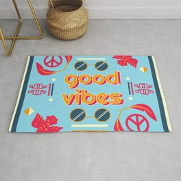 hippie peace and other elements Rug