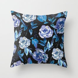 Black & Blue Royal Garden Throw Pillow