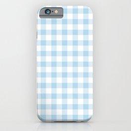 Gingham Light Blue - White iPhone Case