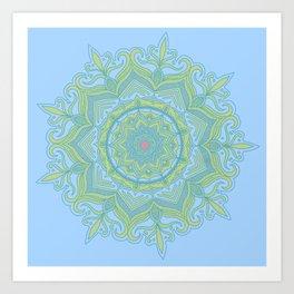 Blue and Green Flower Mandala Art Print