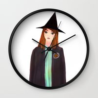 hermione Wall Clocks featuring Hermione Granger by Lenas 9th Art