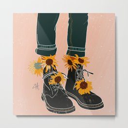Sunflowers and Boots Metal Print
