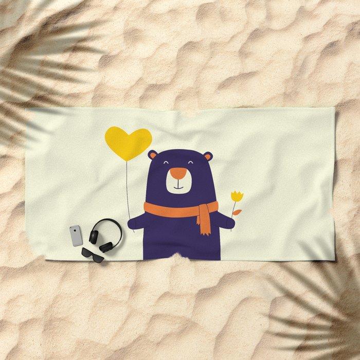 Purple Bear is Here Beach Towel