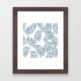 Blue Leaves Framed Art Print
