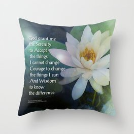 Serenity Prayer Lotus One Throw Pillow