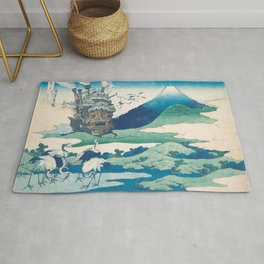 Howl's castle and japanese woodblock mashup Rug