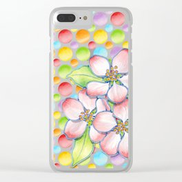 Apple Blossom Polka Dots Clear iPhone Case