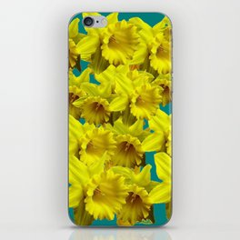 YELLOW SPRING DAFFODILS ON TEAL COLOR ART iPhone Skin