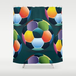 Colorful Soccer Ball Shower Curtain