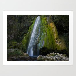 Waterfall on moss mountain rock Art Print