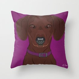 Icons of the Dog Park: Dachshund Design in Bold Colors for Pet Lovers Art Print Throw Pillow