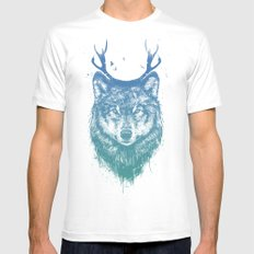Deer wolf Mens Fitted Tee SMALL White