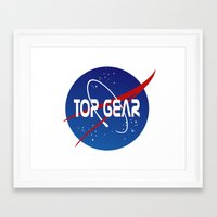 top gear Framed Art Prints featuring Top Gear 'NASA' logo by not-the-stig