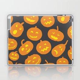 Gray and Orange Jack-O-Lantern Laptop & iPad Skin