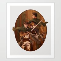 attack on titan Art Prints featuring Haikyuu!! Attack on Titan Crossover: Oikawa and Iwaizumi by JBadgr