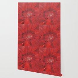 Digital Red Flower Painting Wallpaper