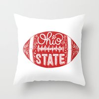 ohio state Throw Pillows featuring Ohio State Football by Kasi Turpin