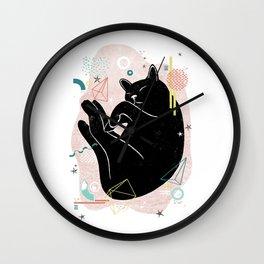 Dreaming kitten illustration Wall Clock