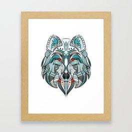Wolf illustration green/red Framed Art Print