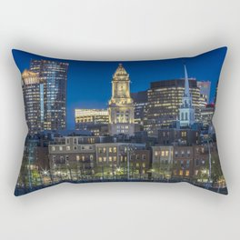 BOSTON Evening Skyline of North End & Financial District Rectangular Pillow