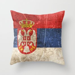 Vintage Aged and Scratched Serbian Flag Throw Pillow