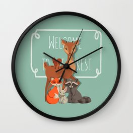 Welcome The Forest Wall Clock
