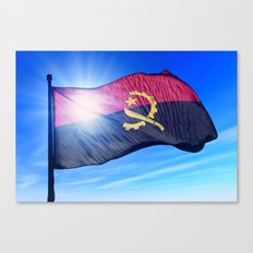 Angola flag waving on the wind Canvas Print