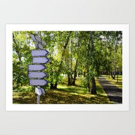 signpost in the park. green summer background Art Print
