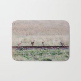 Little deers on a railway - Watercolor painting Bath Mat