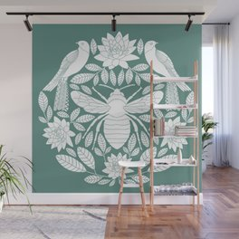 Birds, Bees, and Botanicals // Hand Drawn Insects and Folk art Birds with Lotus Flowers and Leaves Wall Mural