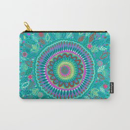 leafy Turquoise Mandala Carry-All Pouch