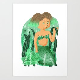 """Plants"" Mermaid Art Print"